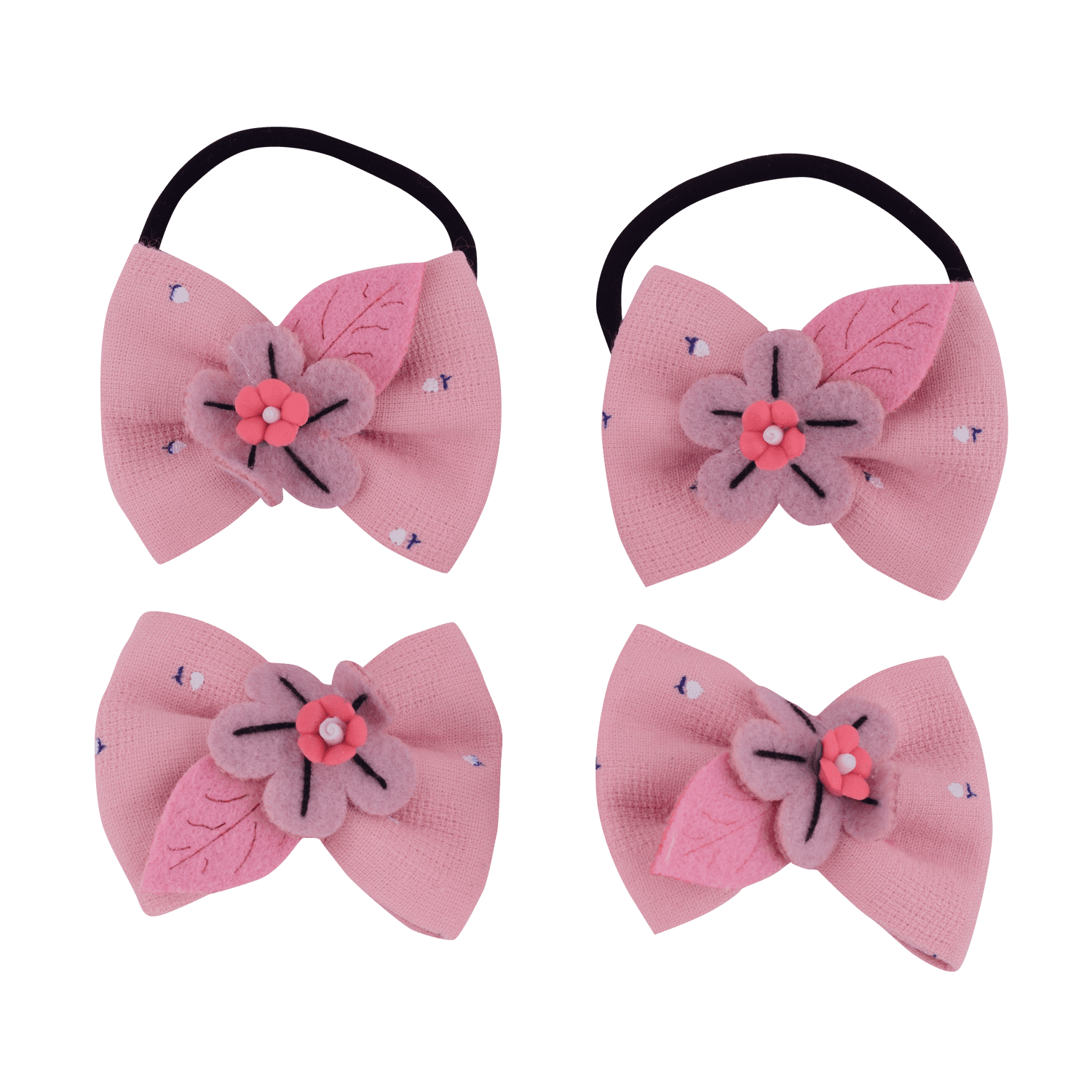 FLORAL BOW HAIR ACCESSORY SET