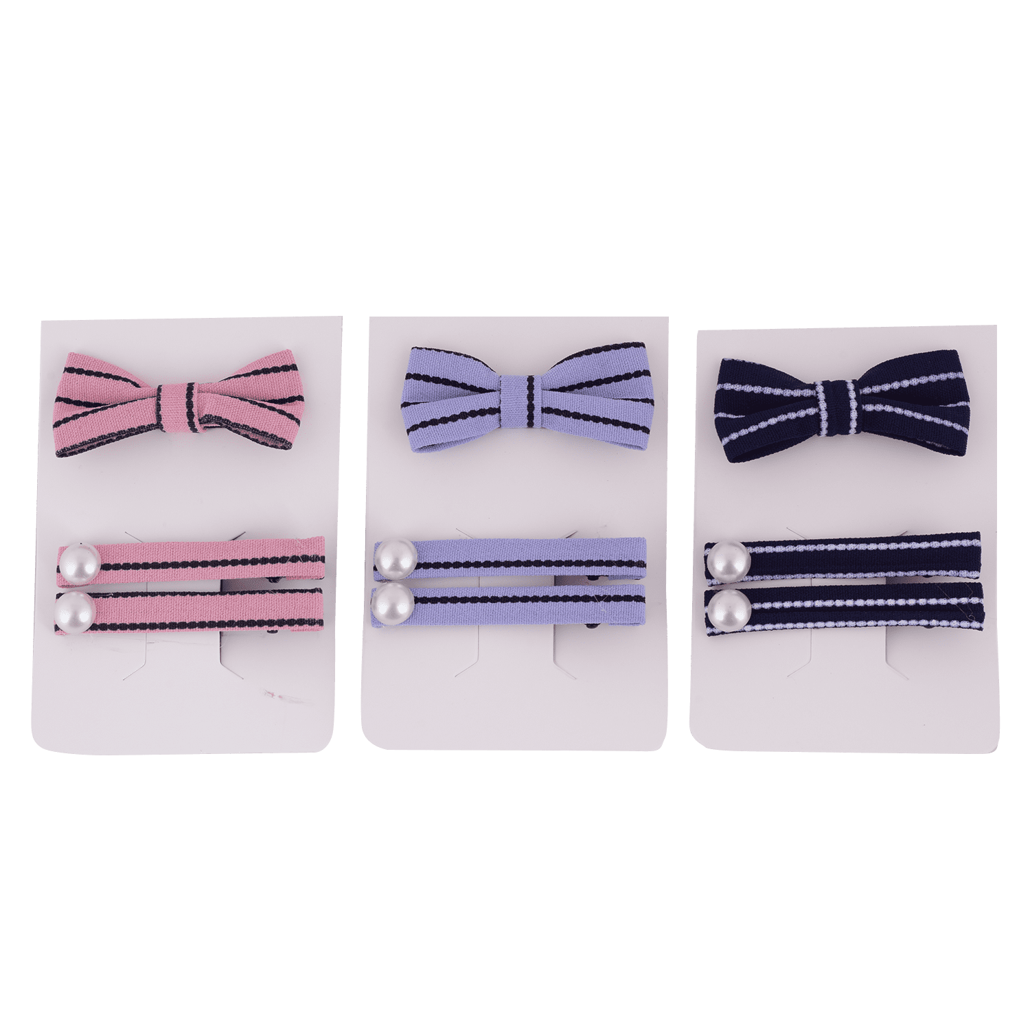 DOTTED STRIPE HAIR CLIP AND BAND SET 3 PCS