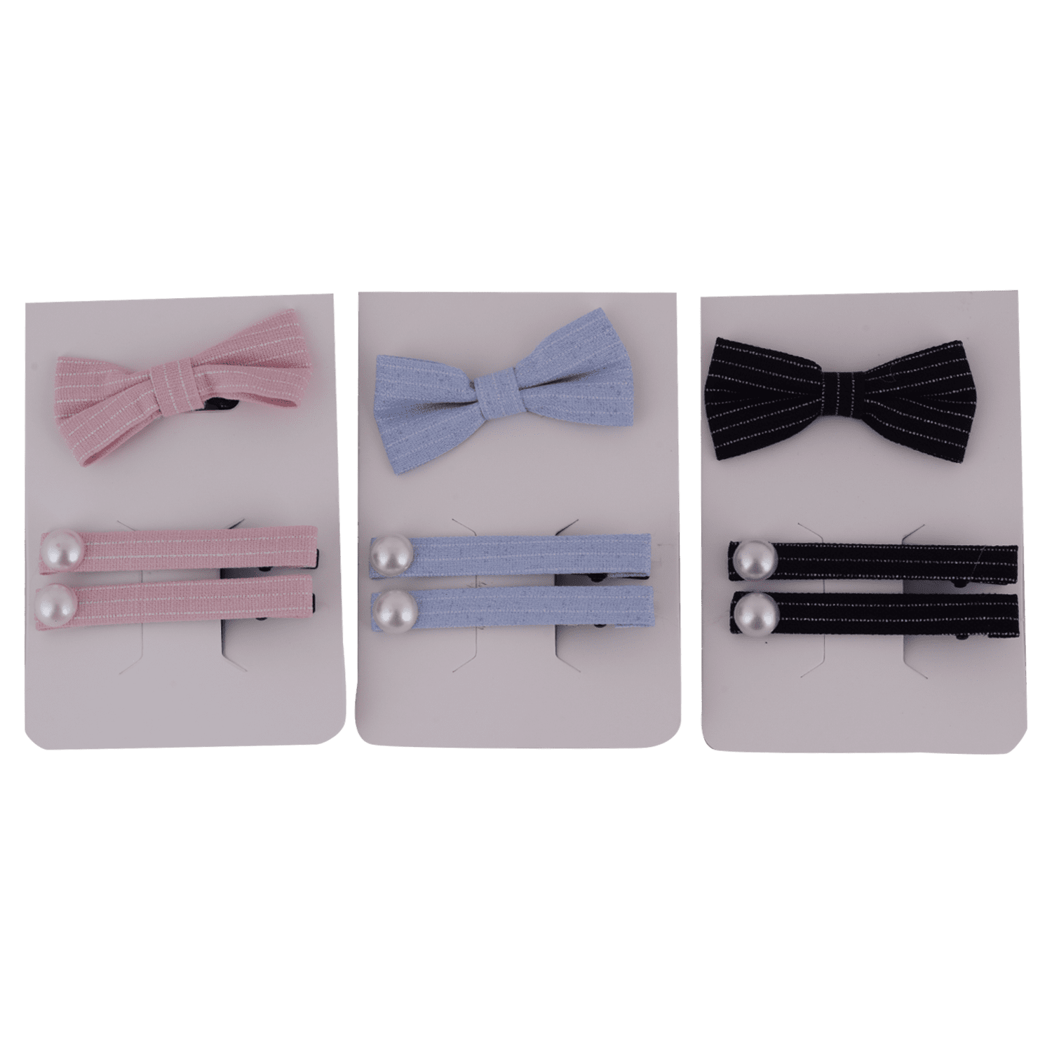 STRIPED HAIR CLIP AND BAND SET 3 PCS