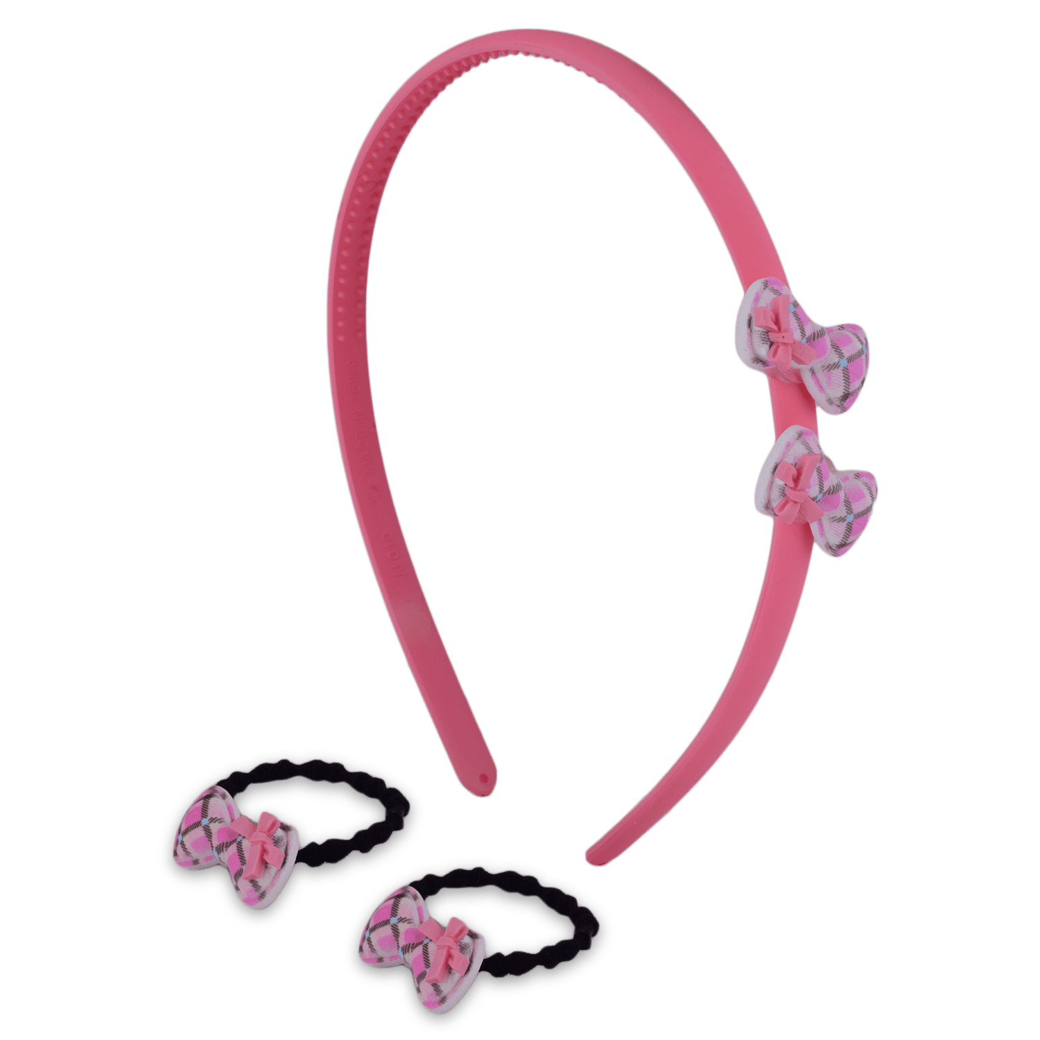 CHECK BOW HAIR ACCESSORY SET